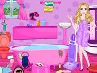 Barbie room cleaning and house decoration games