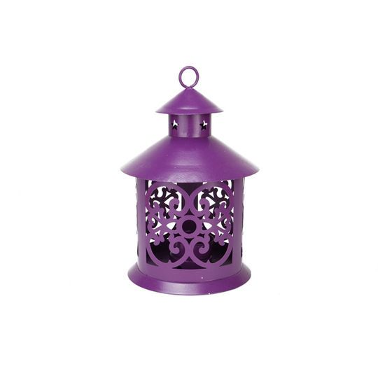 """8"""" Shiny Purple Candle Holder Lantern with Star & Scroll Cutouts"""