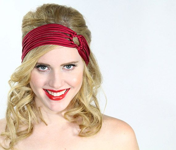Ruby Red headband , turban head wrap , satin silk hair band , womens headband , hair band