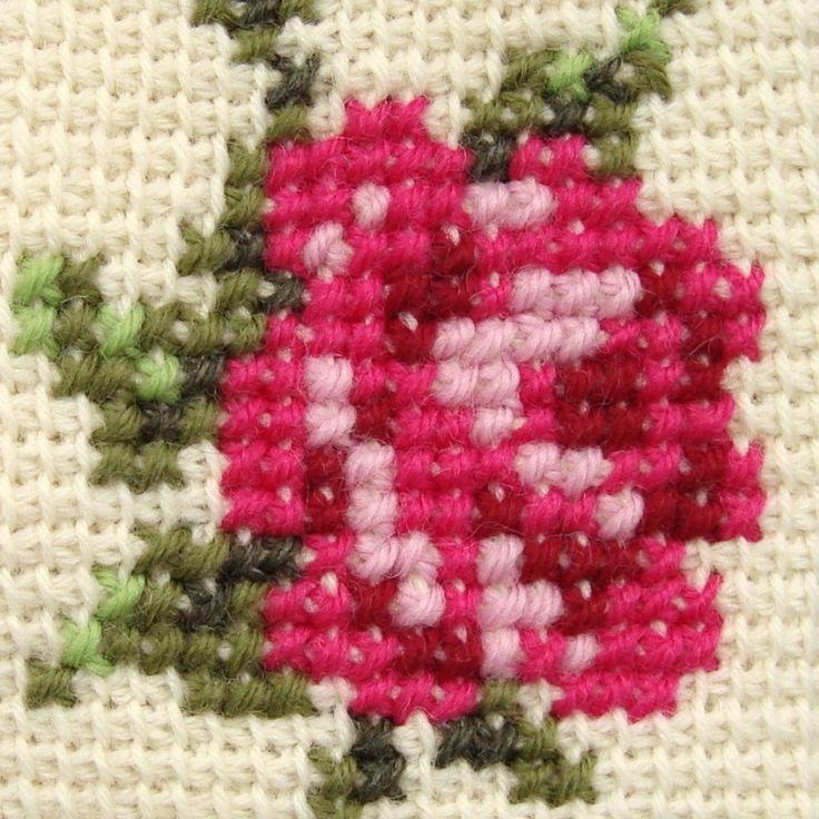 Cross Stitch on Tunisian simple stitch crochet in mitten pattern by Jolanta Gustafsson.