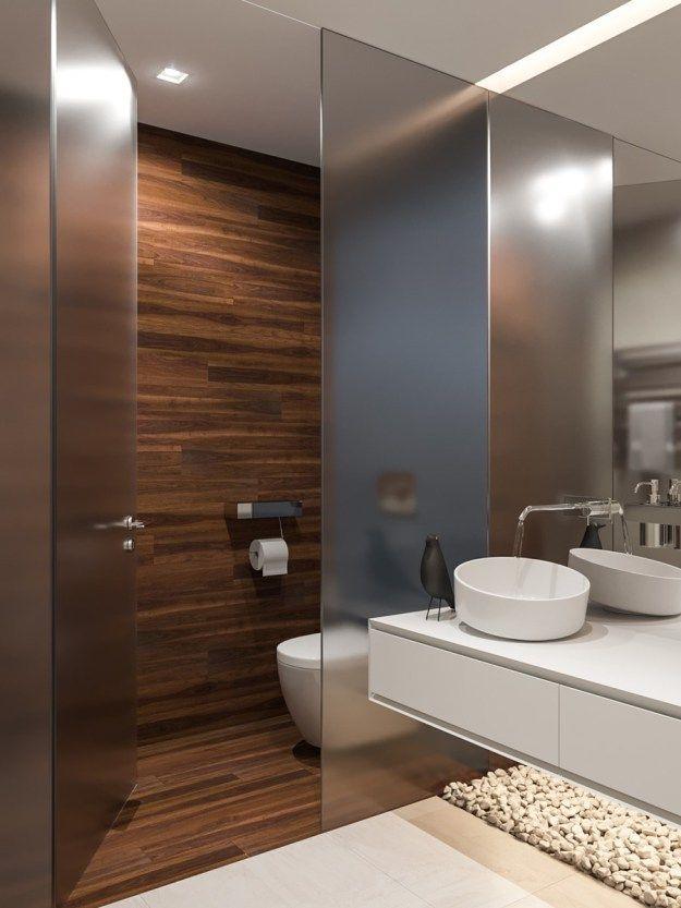 veja os vidro translucido que separa a area do vaso do resto do banheiro