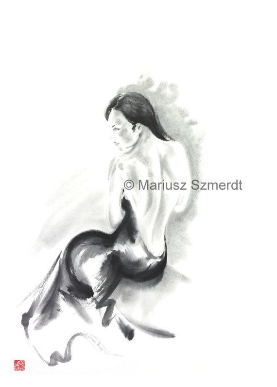 Japanese woman delicate nude erotic act sumi-e ink painting back black and white