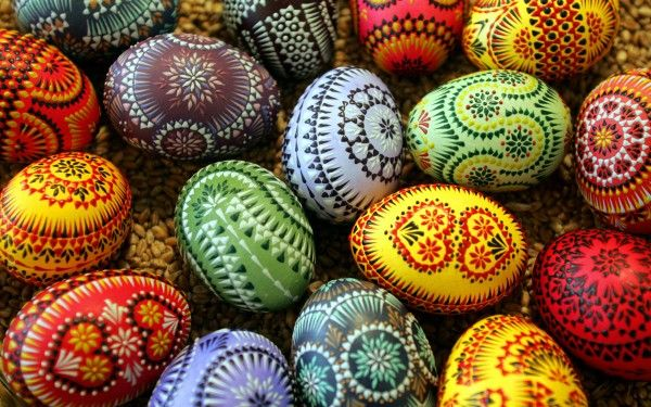 Pisanki decorated eggs, a traditional Polish wax resist method -- I've been beyond obsessed with this method for years.