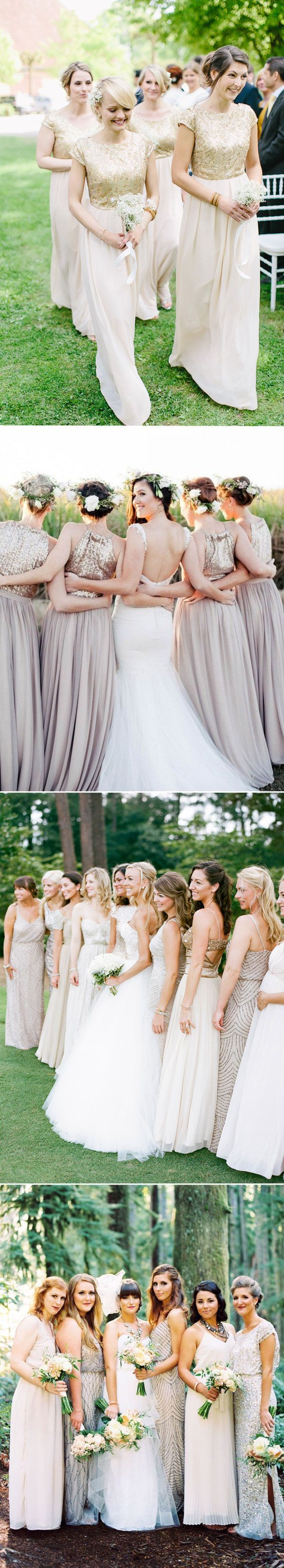 These metallic silver and gold bridesmaid dresses are amazing! real wedding long bridesmaid dresses for fall 2015