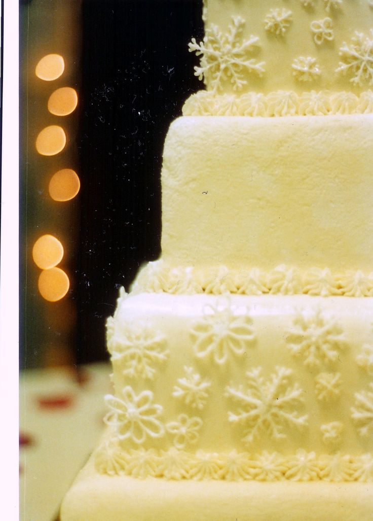 Love This For A Winter Wedding Square Stacked Cake With Royal Icing Snowflakes