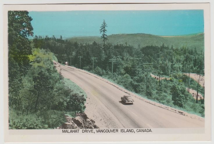 MALAHAT, BC - Tinted photo postcard showing a section of the Malahat Drive looking north. Gowen Sutton c.1953-1955.