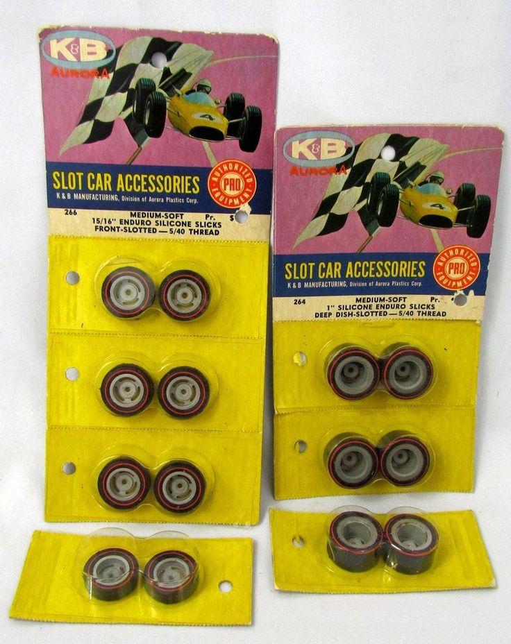 """Vtg K&B Aurora Slot Car Accessories Medium Soft 1"""" & 15/16"""" Enduro Tires Slicks #Aurora"""