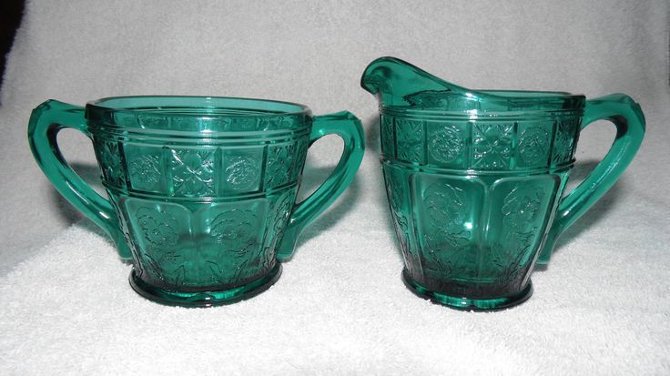 Excited to share the latest addition to my #etsy shop: Vintage Jeannette Glass, Sugar Bowl and Creamer -1930s - Doric & Pansy TEAL GREEN - Ultra Marine, Gifts for Mom, Mother's Day, Gifts for Her http://etsy.me/2FlDgrb #housewares #serving #birthday #mothersday #glass