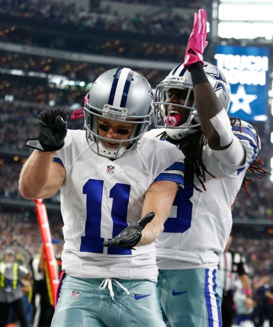 Bengals vs. Cowboys:    October 9, 2016  -  28-14, Cowboys  -     Dallas Cowboys player Cole Beasley (L) celebrates with teammate Lucky Whitehead (R) after running the ball in for a touchdown against the Cincinnati Bengals in the first half of their game at AT