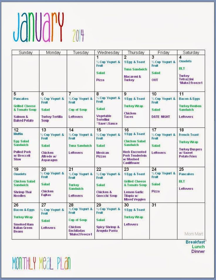 January Monthly Meal Planning Menu 2014 #FreePrintable with recipe links