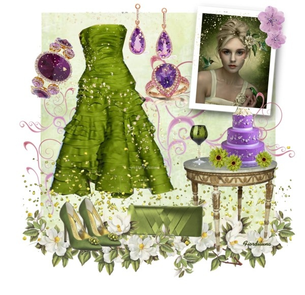 """""""Mixed Colors: Olive Green and Purple"""" by fiordiluna on Polyvore"""