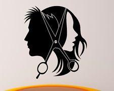 Hair Salon Wall Decal Vinyl Sticker Barber Shop Interior Mural Art Decor, Unisex