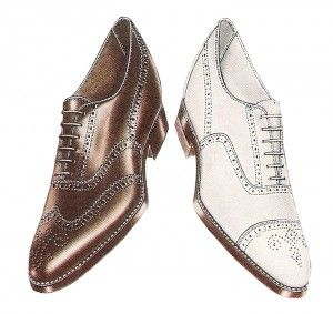 """1920s mens shoes - Instead of a straight across toe line the line now curved to form a """"W."""" The W for wingtip came in a variety of lengths such as the semi-, q..."""