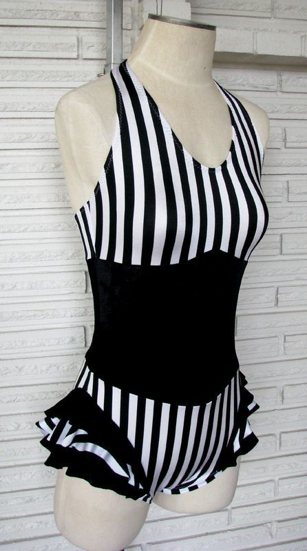 My aerial silks costume - Vertical Stripe Ruffle Cirque Bodysuit from Harmony Threads