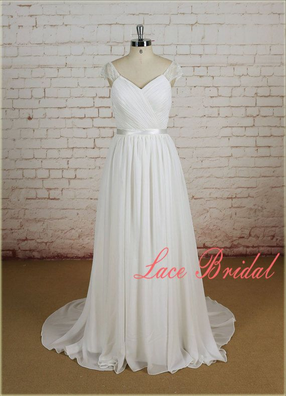 A Line Wedding Dress with Sheer Back Lace Wedding Dress with Chiffon Skirt Pleated Bodice Bridal Gown with Chapel Train