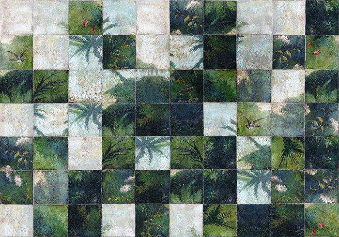 Tendance foret tropicale Papier peint Exotic Damier (Wall & Deco)