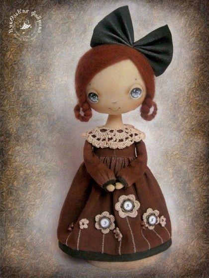 Коллекционные куклы ручной работы. Ярмарка Мастеров - ручная работа Эля и шоколадный мишка. Handmade.