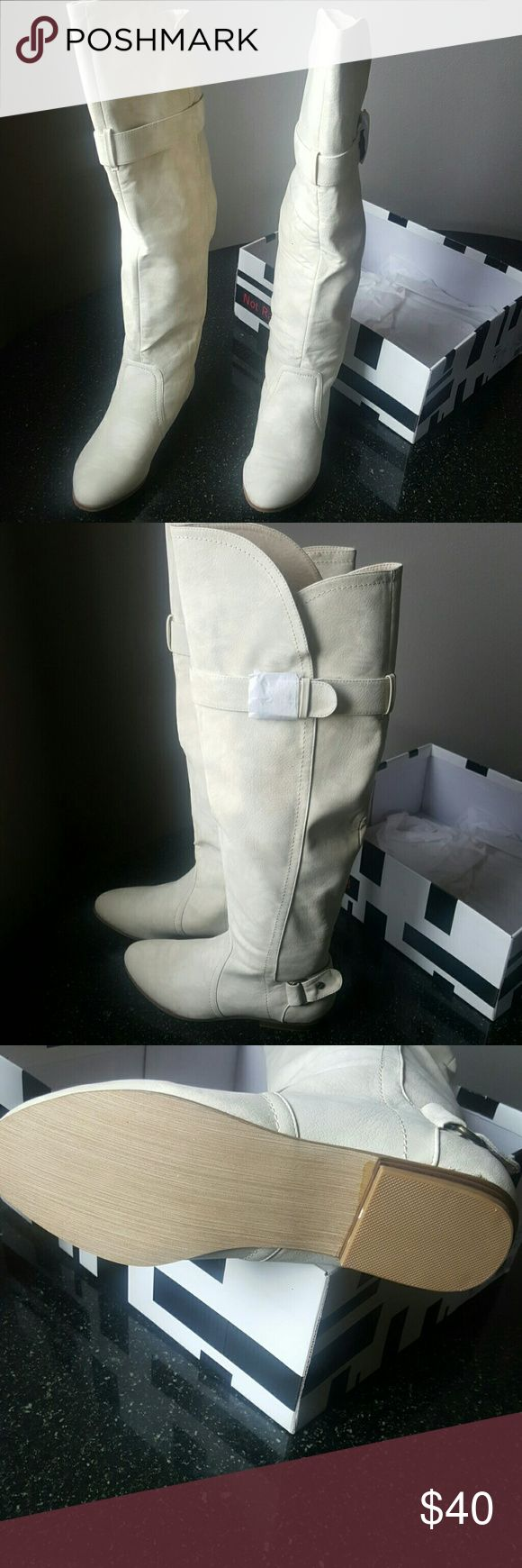 Not rated ozzy boot in cream Tall flat knee boot Not Rated Shoes Over the Knee Boots