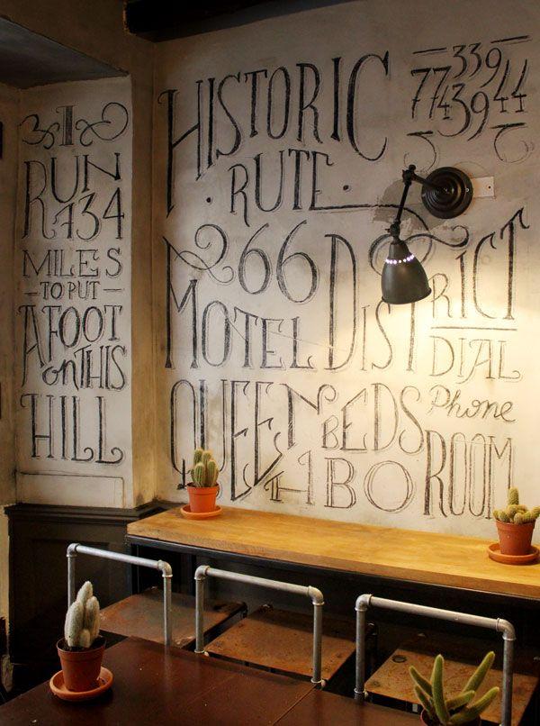 chalk lettering on walls | tommaso guerra