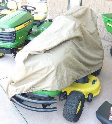 "Product review for Riding Lawn Mower / Tractor Cover - 74""Lx44""Wx38""H. Fits riding lawn mower and garden tractor with deck up to 54"", like John Deere X100 – X300 series. Size: Bottom 74"" L x Width 44"" rear / 42"" front, top 66""L x 24""W Height 38"" rear / 30"" front 300 D polyester with water repellent treatment. Dual air..."
