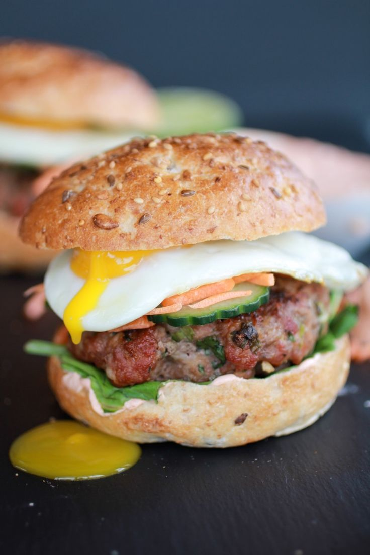 Bani Mi Asian Burgers-these are very delicious. The fried egg really makes it delicious. I pickled some red onion in rice vinegar as well.Also be sure to toast the buns with mayo then frying. The extra crunch is wonderful.
