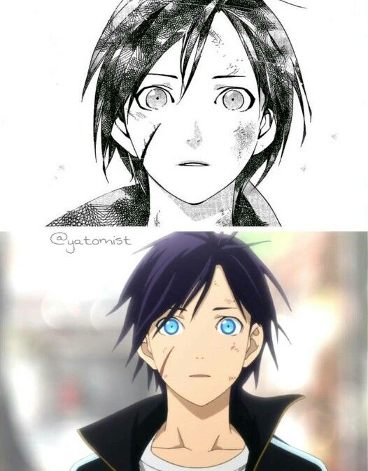 Noragami (Manga vs. Anime) The anime has so much more impact cuz of the colour of his eyes