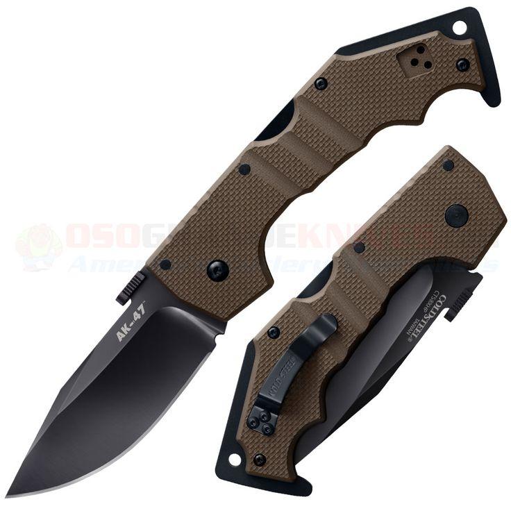 Cold Steel 58TLAKVF AK-47 Folding Knife (3.5 Inch CTS-XHP Blade) Dark Earth G10   OsoGrandeKnives