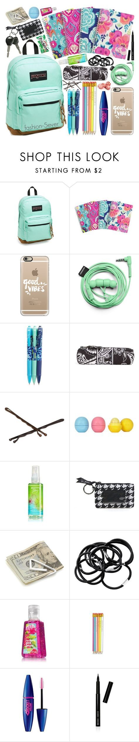 """What's in my backpack ft. my new backpack!"" by itsfashion-5ever ❤ liked on Polyvore featuring JanSport, Casetify, Urbanears, Vera Bradley, Goody, Eos, Crate and Barrel, H&M, Maybelline and Bobbi Brown Cosmetics"