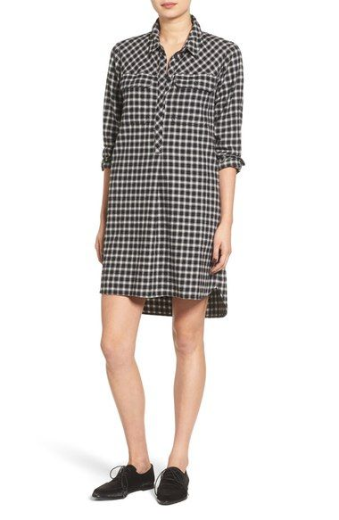 Madewell Latitude Check Shirtdress available at #Nordstrom