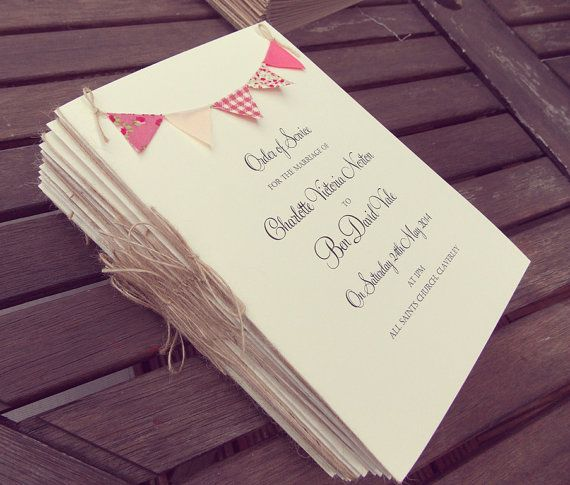 Wedding Program / Wedding Programme / Order of service #rusticwedding #orderofservice #bunting   FromLeoniWithLove, £3.00