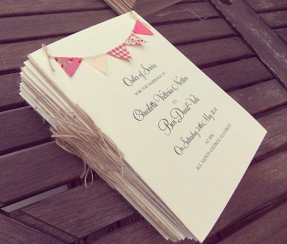 Wedding Program / Wedding Programme / Order of service #rusticwedding #orderofservice #bunting   FromLeoniWithLove, £3.00
