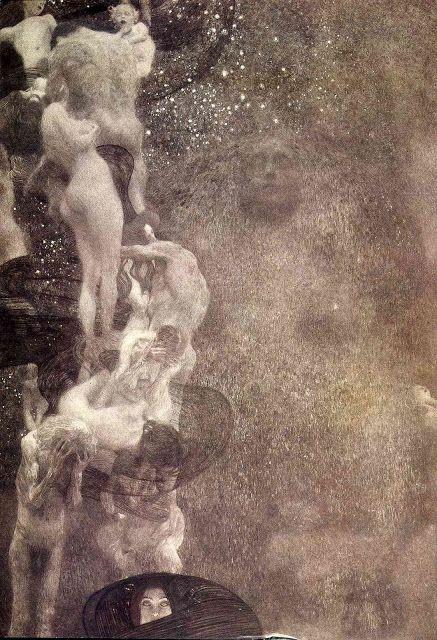 """Casa Dorada Para Pájaros: Gustav Klimt, Las pinturas para la Universidad de Viena.Filosofía El  Mundo como Voluntad, como energía ciega en una ronda incesante de nacimiento, amor y muerte carentes de significado. La Wissen de Klimt es la """"Sacerdotisa"""". Sus ojos se dirigen al espectador para darnos algo de luz en ese mundo de tinieblas."""
