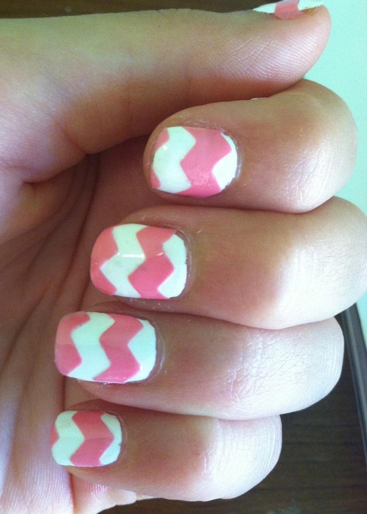 white and pink chevron nailss: Nails Design, Chevron Nailss, Pink Nailss, Hair Nails Makeup, Summer Nails, Nails Ideas, Zig Zag Nails, Chevron Nails Art, Pink Chevron Nails