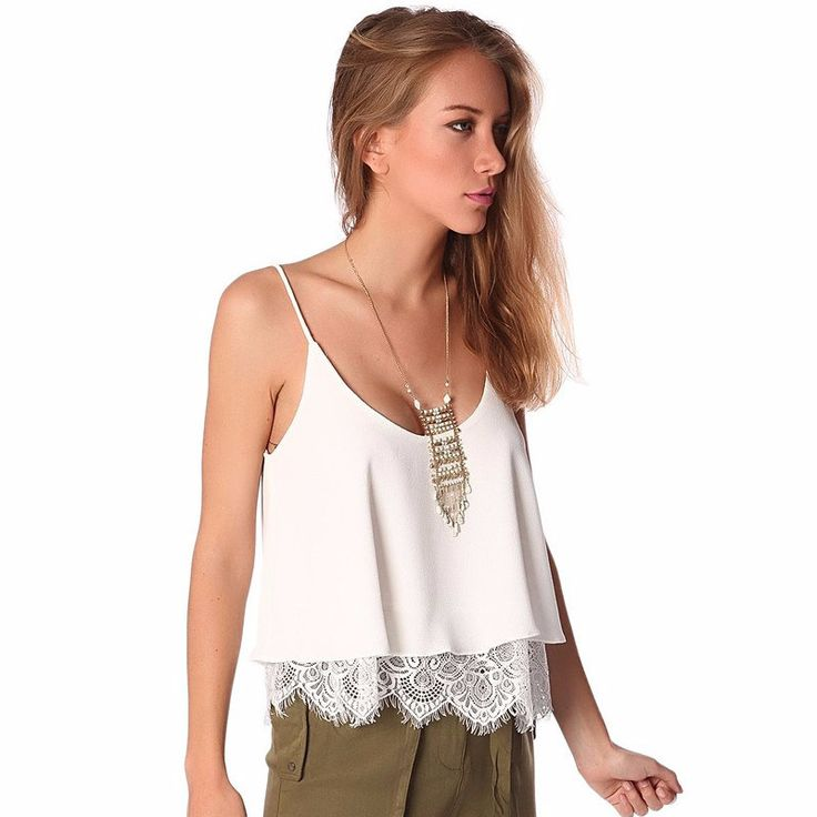 White texture top with lace hem