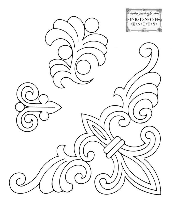 free vintage fleur de lis embroidery transfer patterns - corner for napkins or scarves.