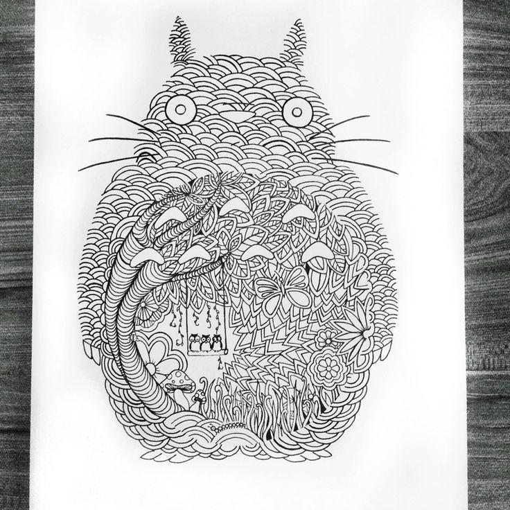 Three owls on Totoro's belly - Design by Priscilla Lopez