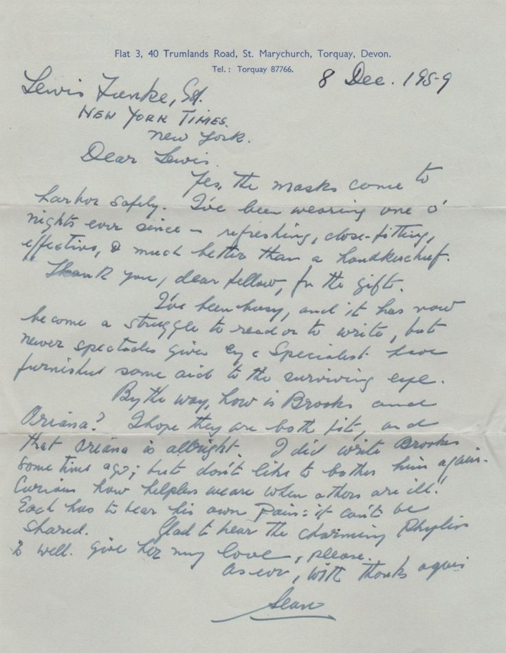 O'CASEY SEAN: (1880-1964) Irish Dramatist. A.L.S., Sean, one page, 4to, Torquay, Devon, 8th December 1959, to Lewis Funke, Drama Editor at The New York Times. O'Casey thanks his correspondent for a gift, remarking 'Yes, the masks came to harbor safely. I've been wearing one o' nights ever since - refreshing, close-fitting, effective, & much better than a handkerchief. Thank you dear fellow….'