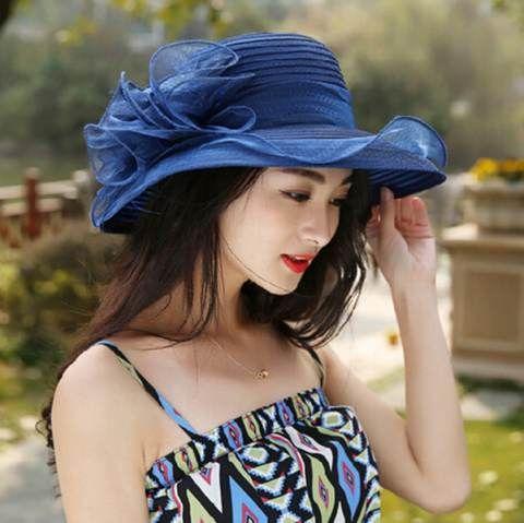 Organza flower straw hat UV fashion summer ladies sun hats