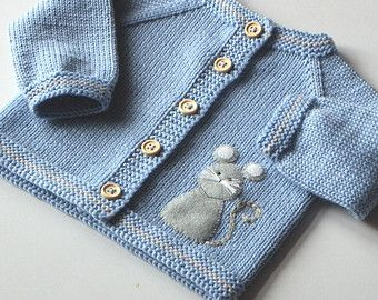 Blue baby sweater with mouse light blue merino jacket for baby boy wool cardigan…