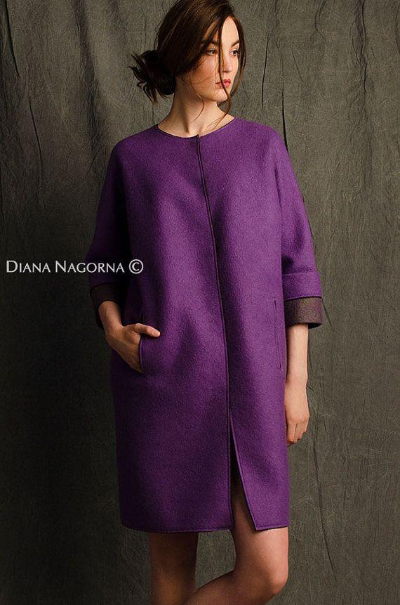 Lichte voorjaar jas, lila kleur, Gevilte jas jassen voor vrouwen, gratis silhouet, wollen jas, handgemaakte merino vacht, mode jas, luxe-artikel