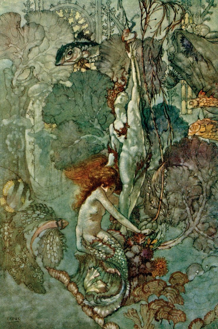 'She cared only for a beautiful little statue of a boy of pure white marble.' The Little Mermaid Illustration from Hans Andersen's Fairy Tales – Illustrated by A. Duncan Carse