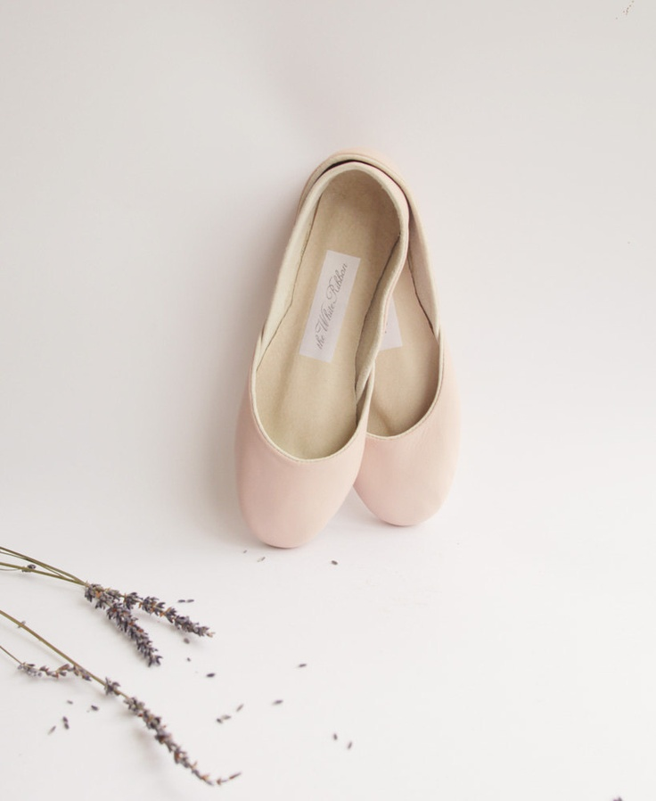 Soft leather ballet flats blush via Etsy. For the urban ballerina.: 01 Shoes, Soft Leather, Nude Flats, Flats Blushes, Bags Belts, Shoes Bags, White Ribbons, 65 00, Leather Ballet Flats
