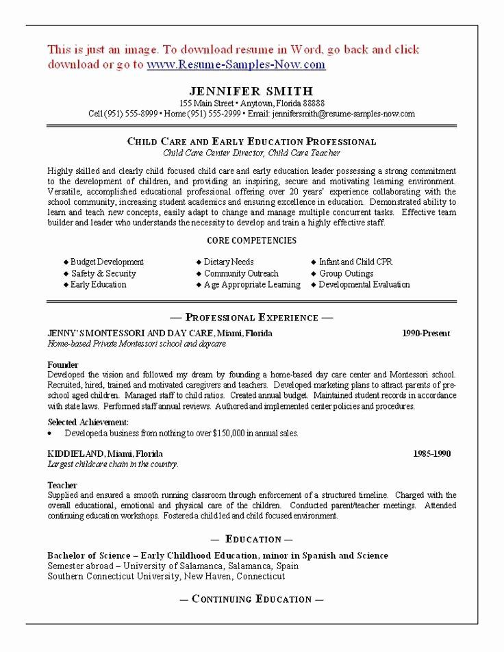 Child Care Resume Examples Awesome 11 Child Care Sample