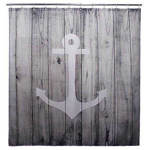 Water resistant mildew free No color fading Polyester Fabric Shower Curtains and rugs Anchor Design    https://portablesaunas.today/index.php/product/extra-long-shower-curtain-by-goodbath-nautical-anchor-rustic-wood-striped-door-design-fabric-waterproof-bathroom-curtains-72-x-84-inch-grey-white/