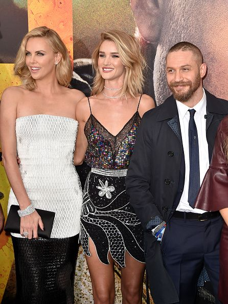 Tom Hardy with Charlize Theron, Rosie Huntington-Whiteley at the Mad Max FuryRoad premiere in L.A. on May 7th 2015