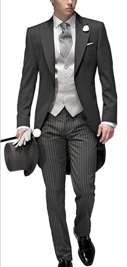 1920s Mens Formal Wear Clothing Newdeve Three Pieces Tailored Bridegroom Black Morning Suit Wedding Tuxedo for Men Groomwear $175.00 AT vintagedancer.com