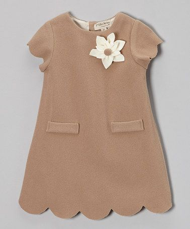 Take a look at this Brown Feutrine Cap-Sleeve Dress - Girls by P'tite Môm on #zulily today!