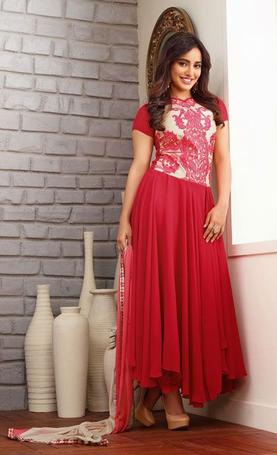 USD 66.15 Neha Sharma Red Faux Georgette Designer Suit 37657