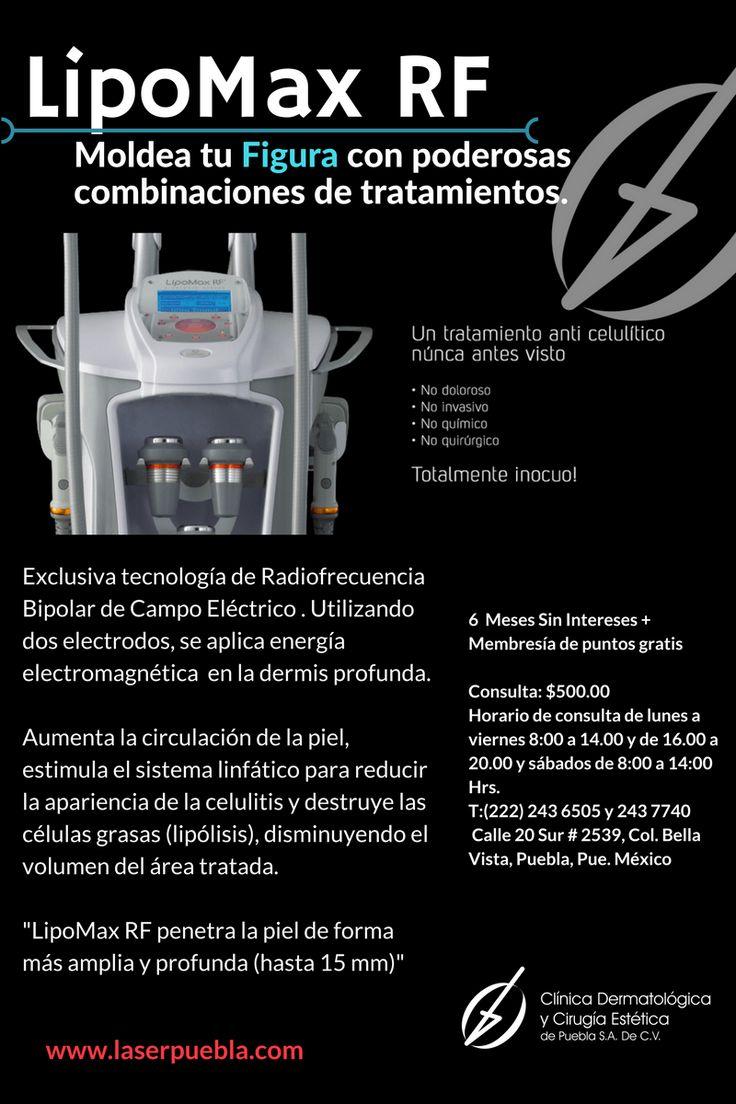 El aparato estetico LipoMax utiliza cavitacion y radiofrecuencia para la reducción de la celulitis, el moldeamiento corporal y mucho mas.  Estetica puebla  www.laserpuebla.com