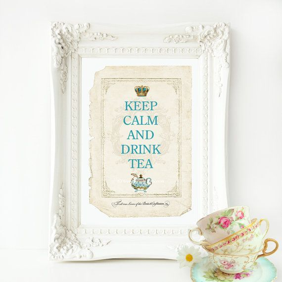 Keep calm and drink tea kitchen decor print by MulberryslittleMuse